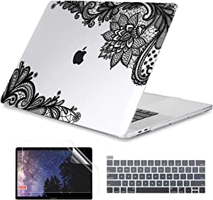 Dongke MacBook Pro 16 inch Case Model A2141 (2019 2020 Released), Plastic Hard Shell Case Cover Only Compatible with MacBook Pro 16 inch with Retina Display & Touch Bar Fits Touch ID, Black Lace