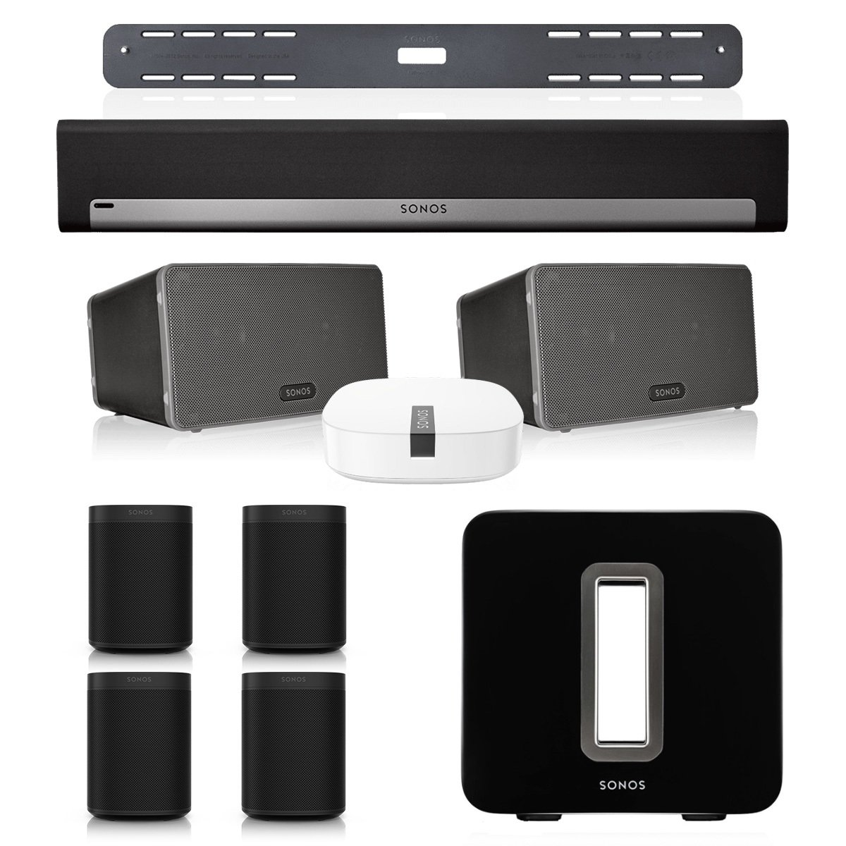 Sonos PLAYBAR Multi-Room Home Theater System with ONE (Set of 4), PLAY:3 (Pair), and SUB Wireless Subwoofer (Black)
