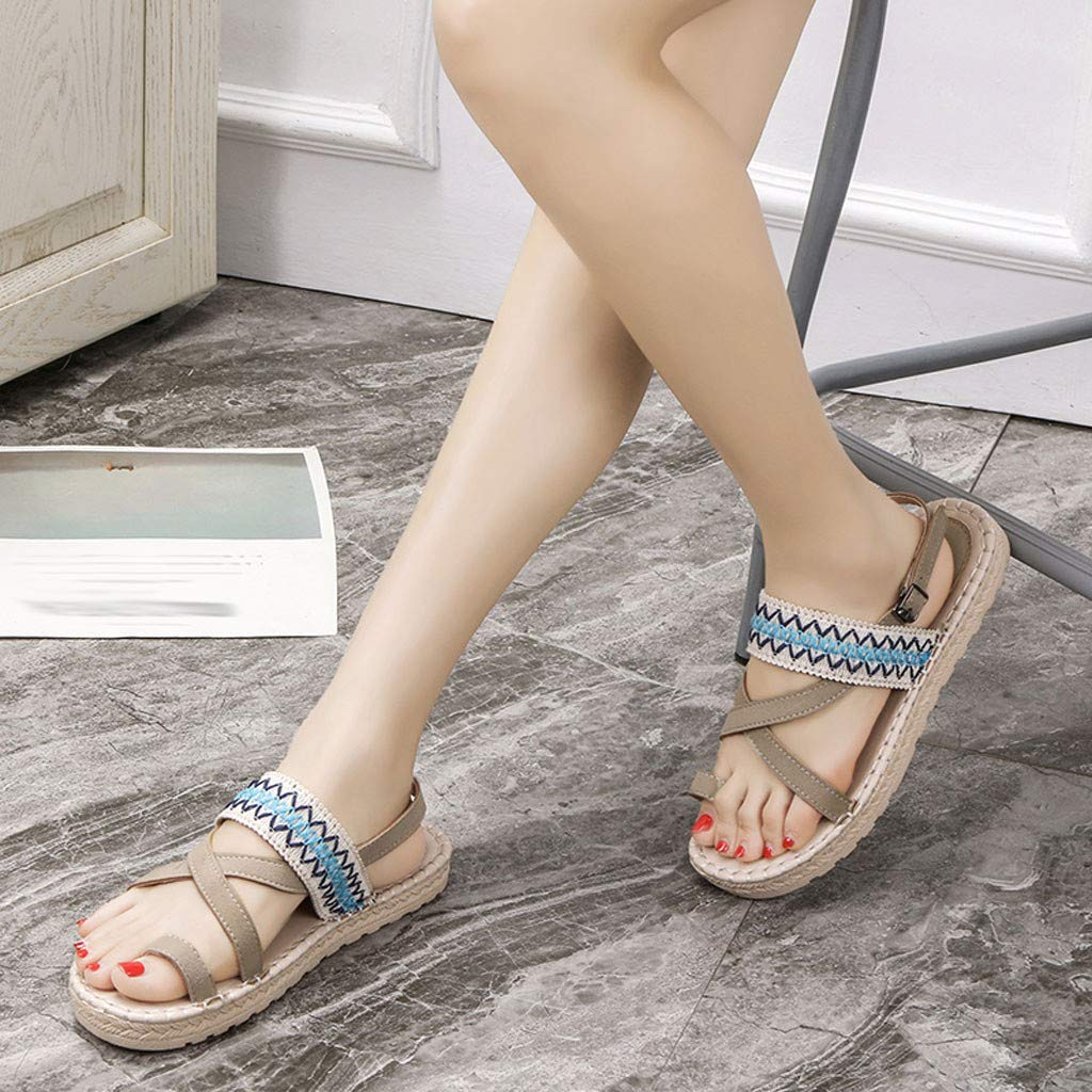 Thenxin Bohemian Cloth Open Toe Flat Sandals for Women's Ethnic Beach Shoes (Beige,6.5 US) by Thenxin-sandals (Image #3)