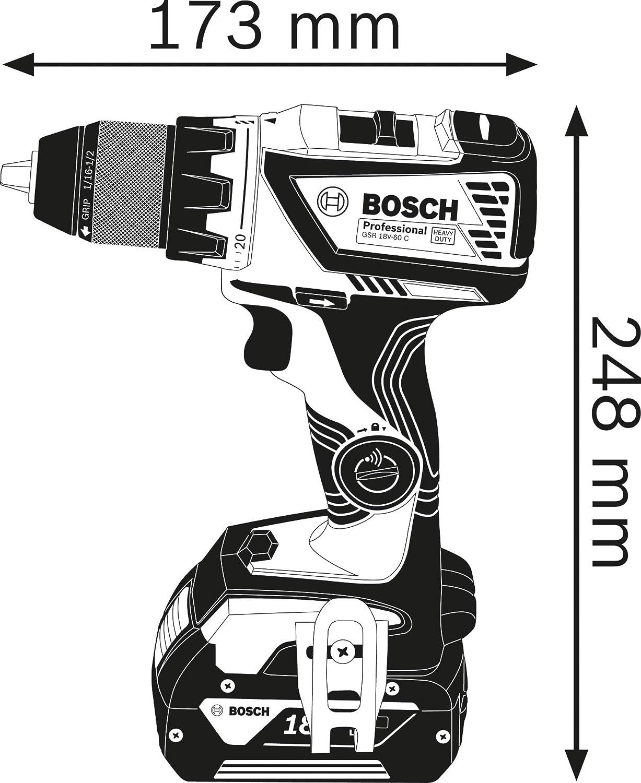 Bosch Professional 18V System Akku-Bohrschrauber GSR 18V-60 C max. Drehmoment 60 Nm, inkl. 2x4.0 Ah Akku, Ladeger/ät GAL 18 V-40, L-BOXX
