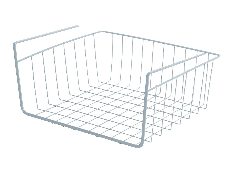 Small Kitchen 12 x 5.5 Inch Pantry Black Steel Metal Frame Rust Resistant Finish Smart Design Undershelf Storage Basket w//Snug Fit Arms Shelf Organization Cabinet