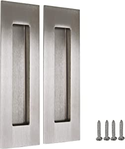 """2 Pack Stain Nickel Recessed Door Pull Stainless Steel Recessed Finger Pulls Rectangular Flush Pocket Door Pull 6"""" Outer Length 2"""" Outer Width"""