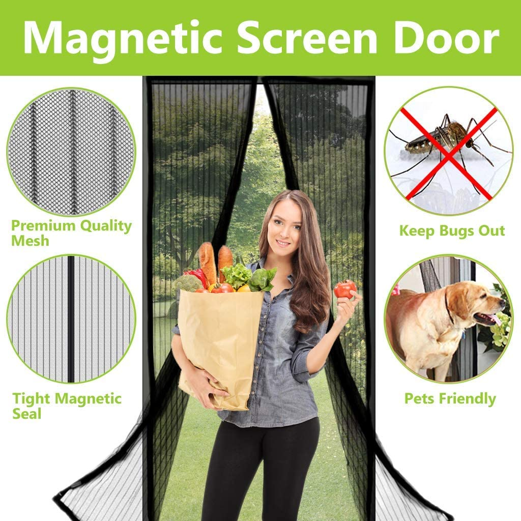 "Aoocan Magnetic Screen Door - Heavy Duty mesh Door Screen and Full Frame Hook & Loop Fits Door Size up to 34""-82"" Max- Black 
