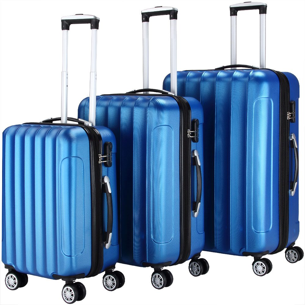 Hard Shell 4 Wheel ABS Suitcase Spinner Luggage Combination Lock Trolley Silver