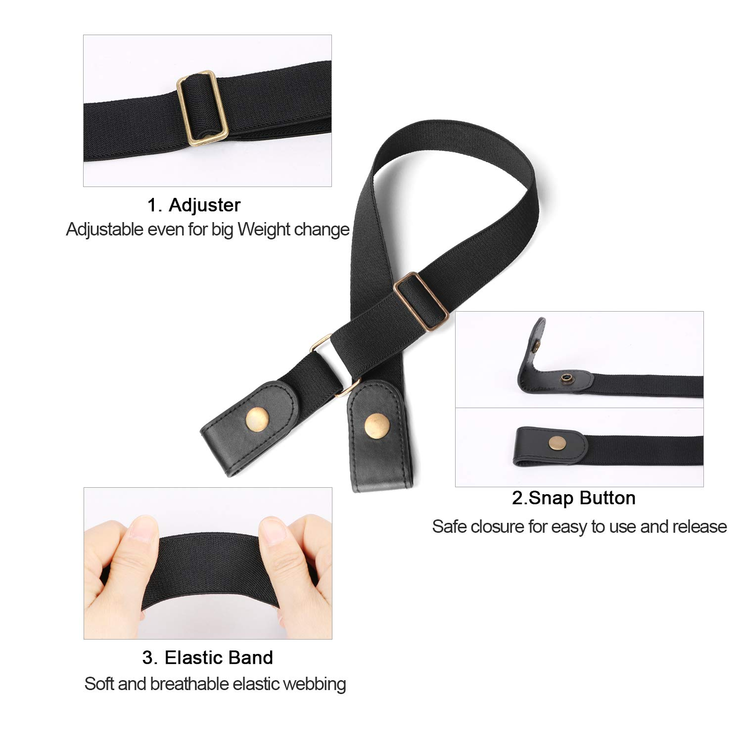 Buckle-free Elastic Women Belt for Jeans without Buckle, Ladies Invisible Belt No Bulge No Hassle