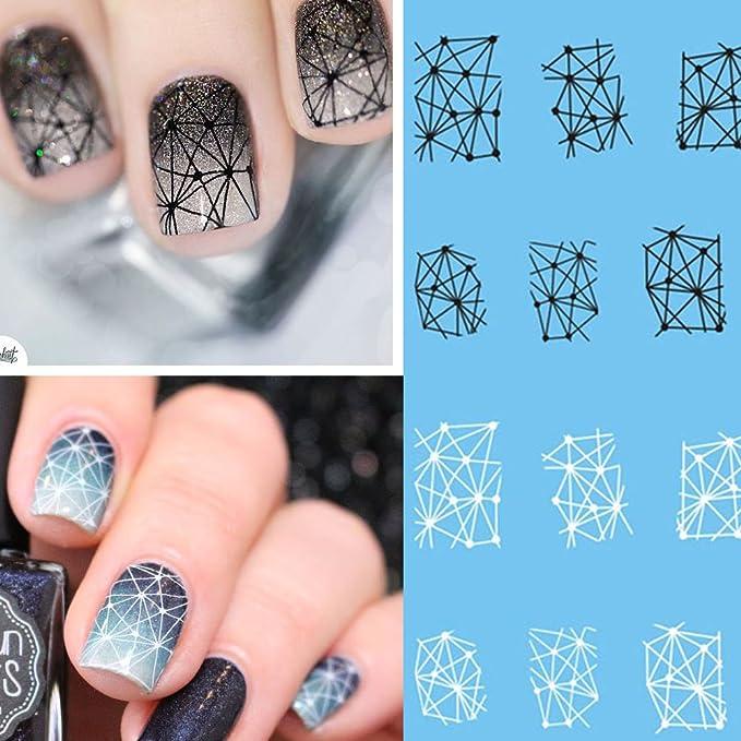 20 Unids Patrones Geométricos Negro/Blanco Nail Sticker Sliders ...