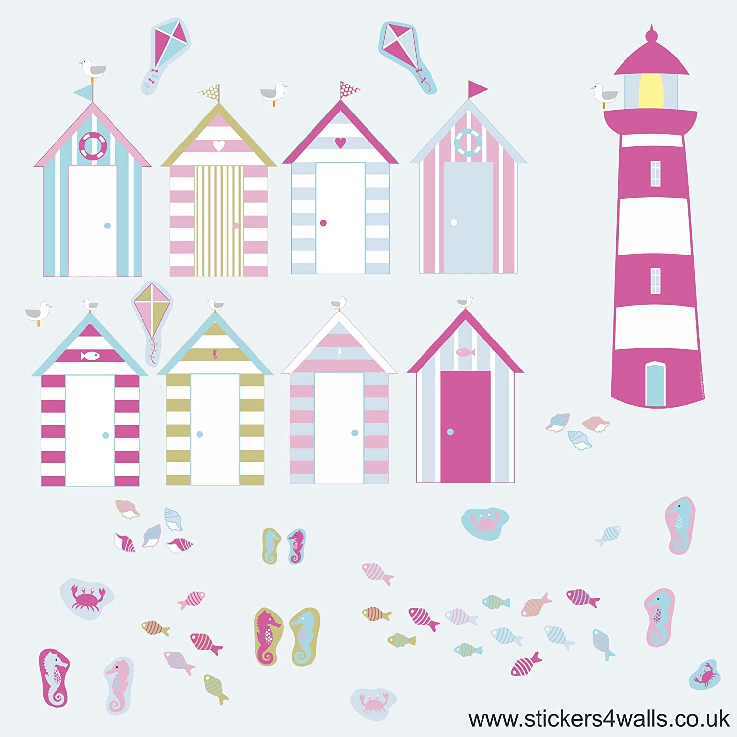 BEACH HUT WALL STICKERS SEASIDE PINK Beach Hut Wall Decals Seaside
