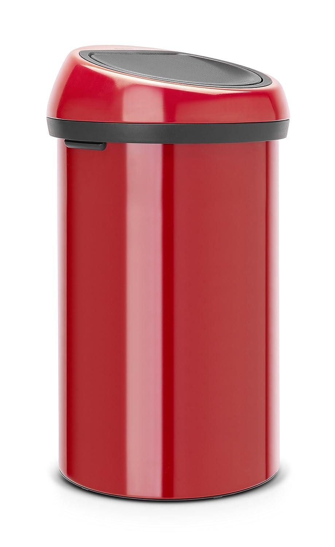 Brabantia Touch Bin - Cubo de Basura, 60 litros, con Tapa, Color Rojo pasión