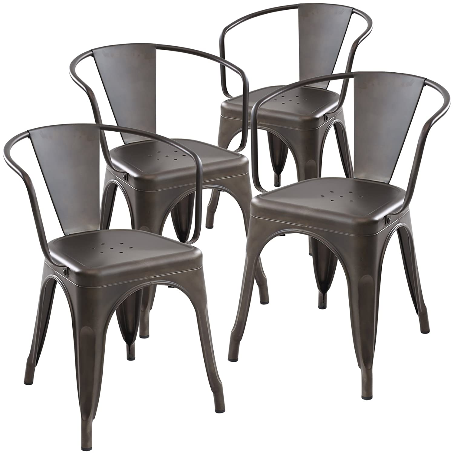 Amazon.com - Poly and Bark Trattoria Arm Chair in Bronze (Set of 4 ...