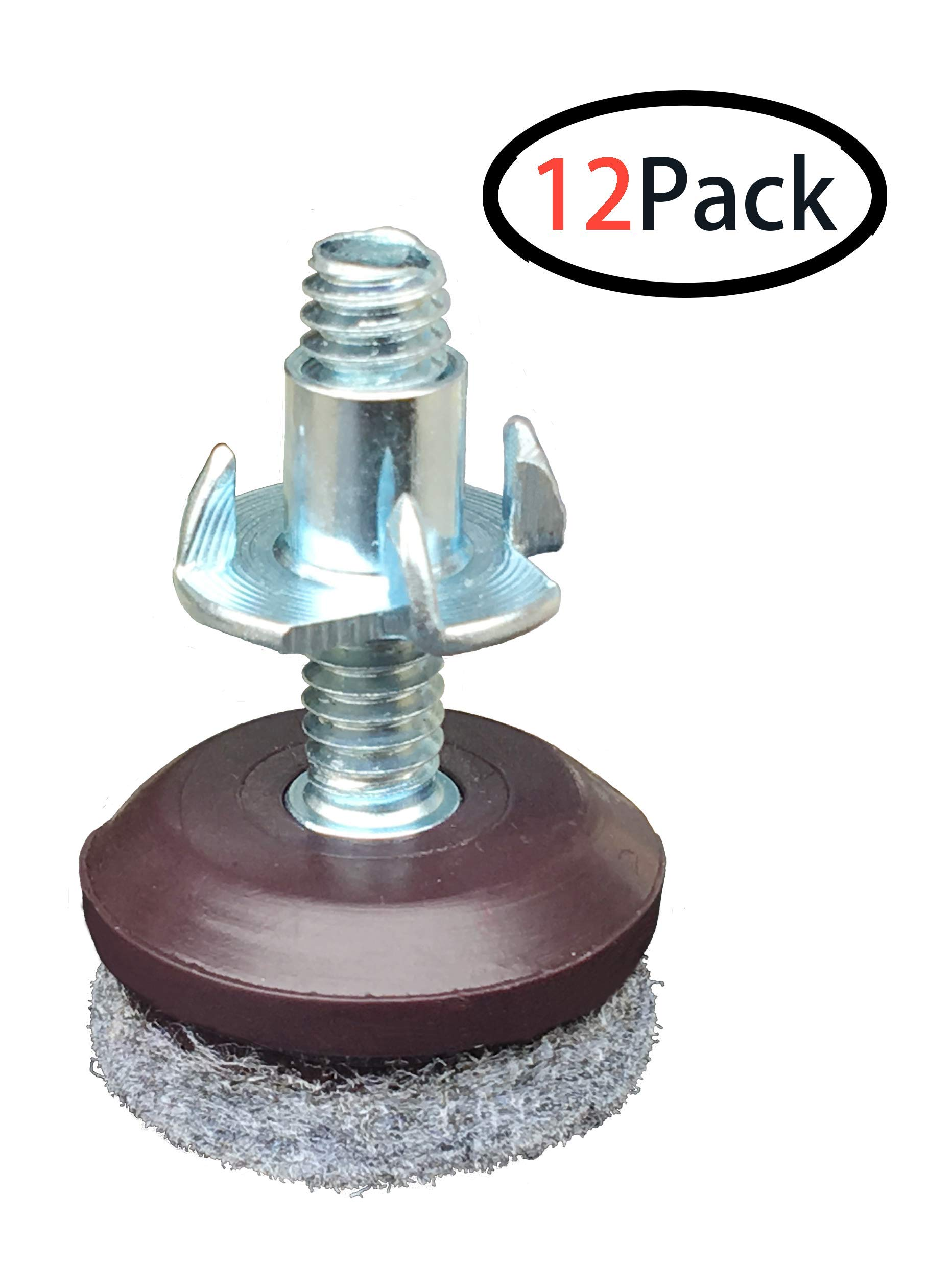1 inch Furniture Levelers - Adjusting Felt Pads for Chair Legs and Furniture - Table Leveling Feet - 1/4-20 Adjustable Furniture Foot - 12 Pack.