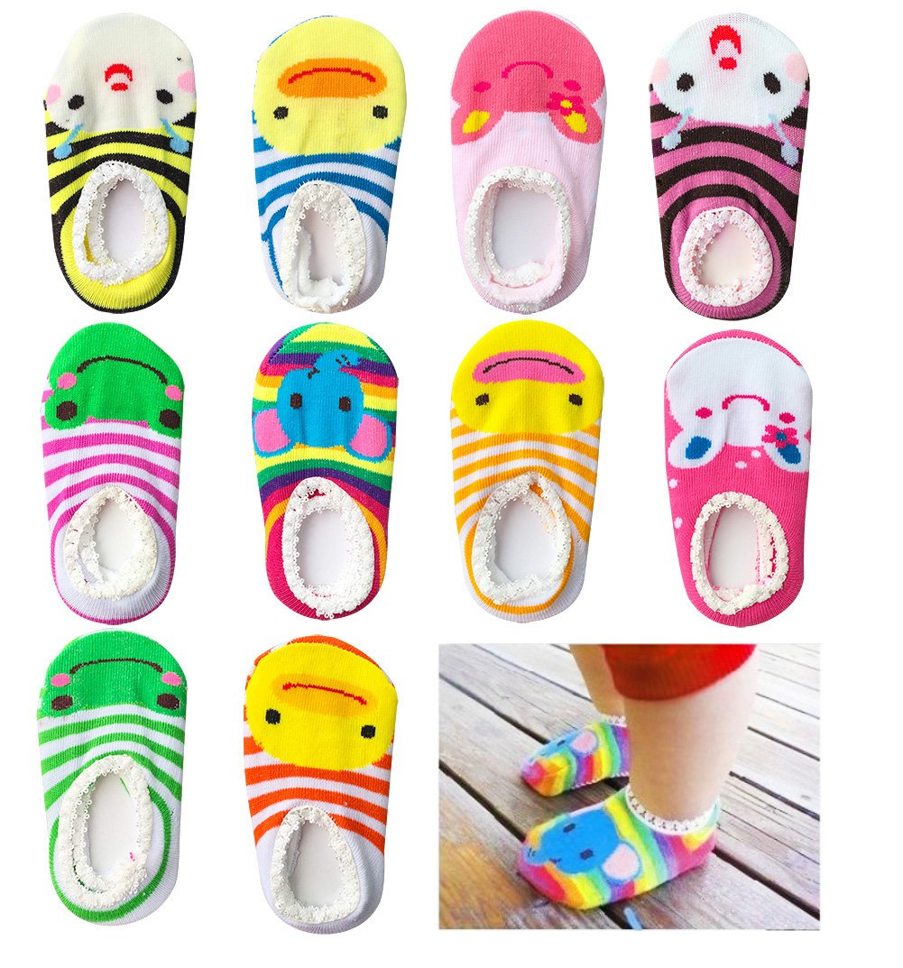 Bassion 10 Pairs Baby Socks Non Slip Newborn Infant Cute Baby Ankle Cotton Socks Skid Toddler Gripper Socks for 6-18 Months PRO-034-1