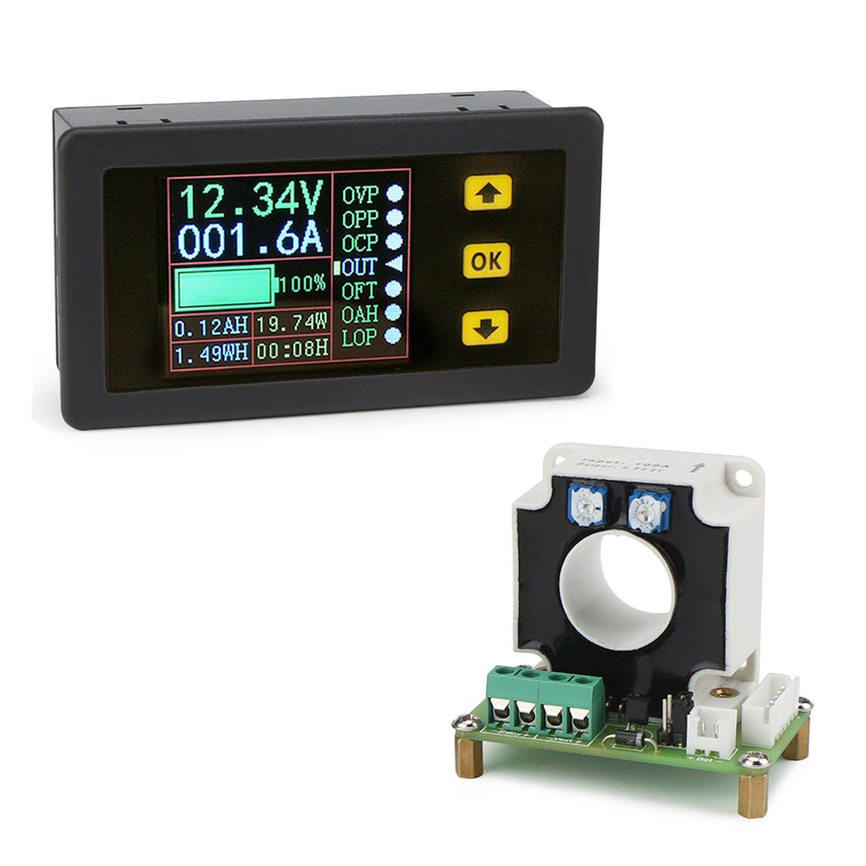 DROK Digital DC Multimeter 0-90V 0-100A Voltmeter Ammeter Power Capacity Time Meter Monitor, Charge-Discharge Battery Tester, Volt/Amp/Watt/Ah Meter Tester, LCD Color Screen with 20mm Hall Sensor