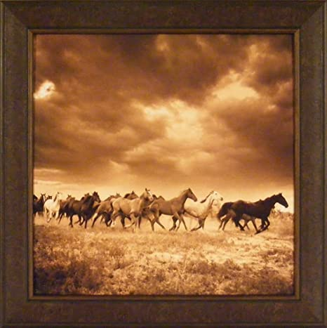 Amazon Com Home Cabin Décor Remuda 6 By Adam Jahiel 30x30 Running Horses Horse Herd Sepia Photography Framed Art Print Picture Posters Prints