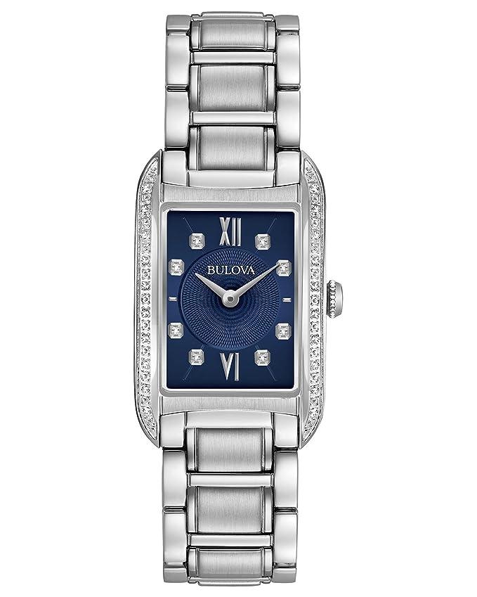 Bulova 96r211 Damen Analog Quarz Edelstahl Diamant Armbanduhr ...