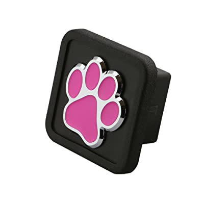 """LFPartS 3D Emblem Trailer Hitch Cover Tube Plug Insert (Fits 2"""" Receivers, Bear Dog Animal Paw Foot HOT Pink): Automotive"""