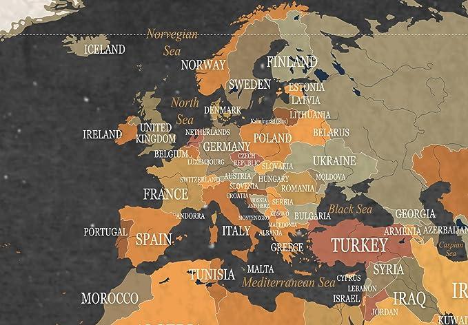 murando Cuadro en Lienzo 60x40 cm - Poster Mapa del Mundo 1 Parte Impresión en Material Tejido no Tejido Impresión Artística Imagen Gráfica Decoracion de Pared Continente k-C-0048-b-c: Amazon.es: Hogar