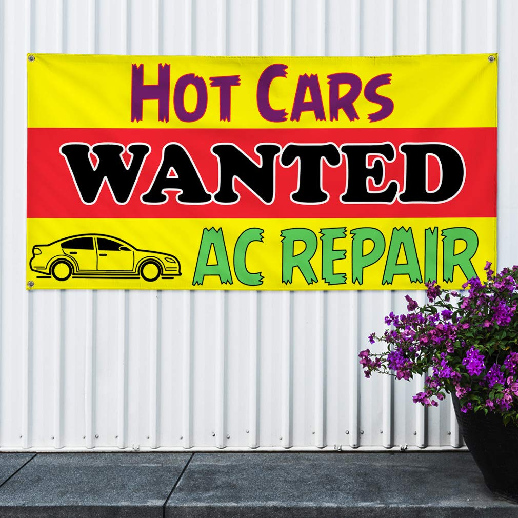 44inx110in 8 Grommets Multiple Sizes Available Vinyl Banner Sign Hot Cars Wanted Ac Repair Automotive Marketing Advertising Yellow One Banner