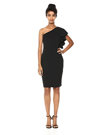 a2a4b5ed Calvin Klein Women's Solid Ruffle One Shoulder Sheath Dress at ...