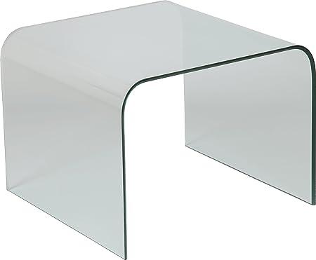 Destock Meubles Bout de sofá diseño Cristal Curvado Cuadrado ...