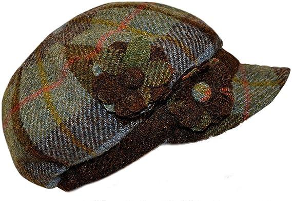 0c07c2f42ba Ladies Harris Tweed Baker Boy Style Hat in Traditional Blue MacLeod Tartan  One Size