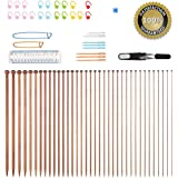 Knitting Needles,BCMrun 36PCS 35CM(13.78in) Bamboo Knitting Needles 18 Sizes from 2.0mm to 10.0mm with 34PCS Accessories