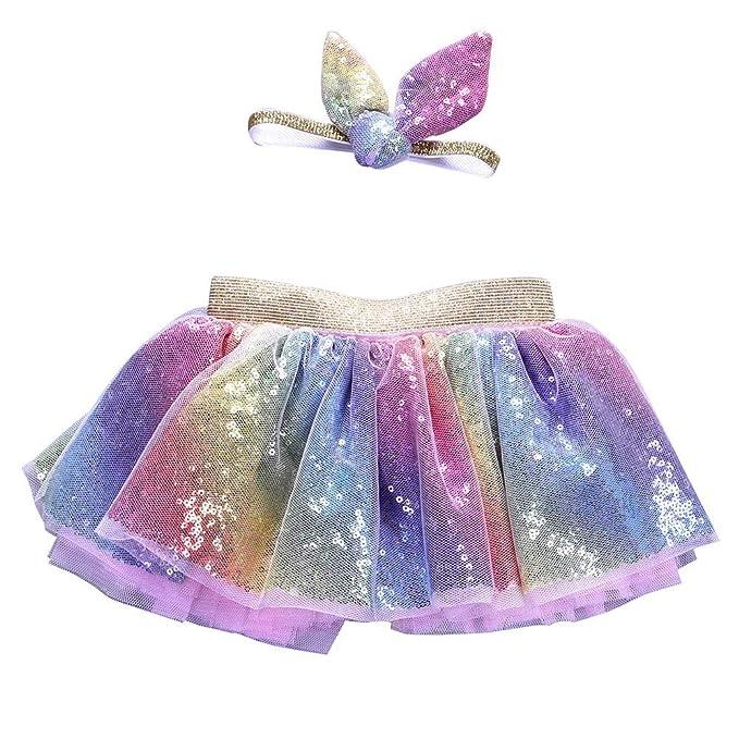 QinMM Falda Conjunto de 3-8 años bebé niñas Christmas Tutu Ballet ...