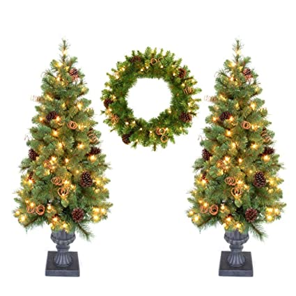 home accent holiday double 4 ft pot tree artificial christmas tree and 24 in