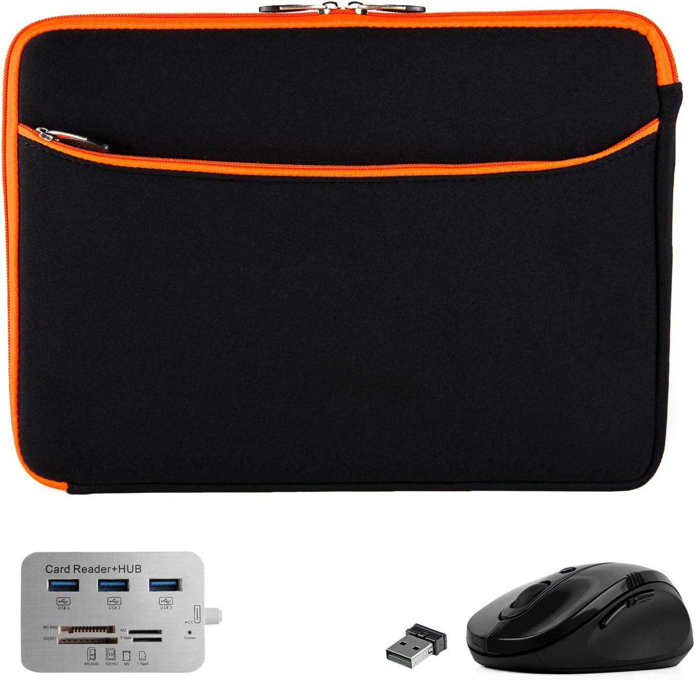 Mouse, Hub, Laptop Sleeve 15.6 inch for Dell Inspiron 3000 3505 3583 Latitude 7400 5400 7480 E7470, Gaming G3 15 3500, Vostro, Precision (Black Orange)
