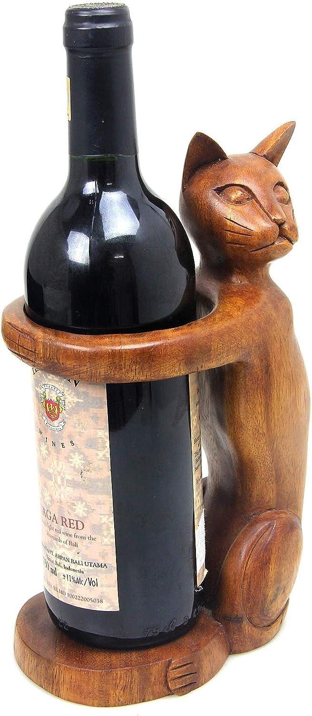OMA - Soporte para botellas de vino de gato, madera maciza, tallado a mano, gatito, gato, decoración del hogar: Amazon.es: Hogar