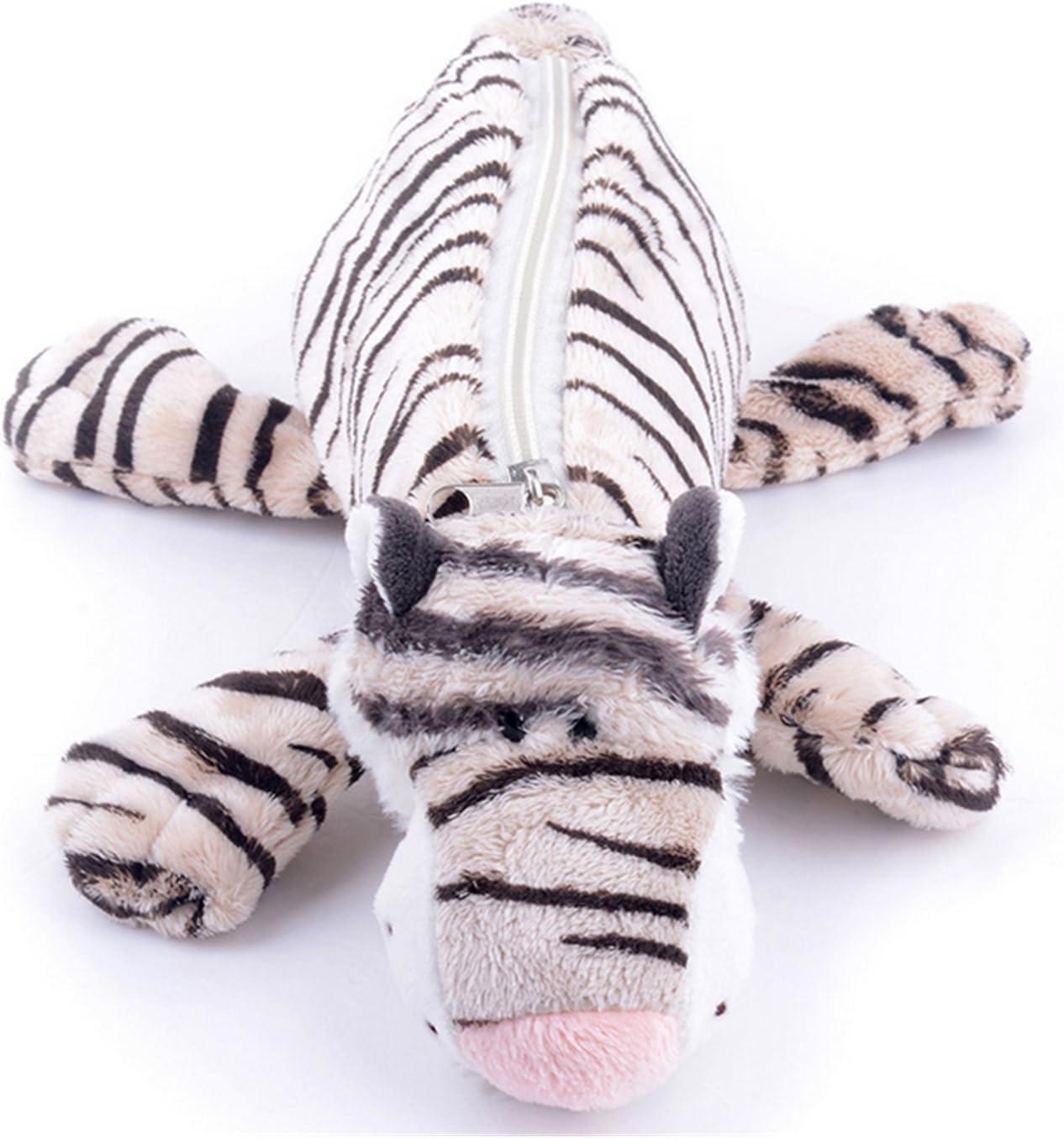 Students Cute Cartoon Animal Soft Plush Pencil-box Cafe Office Supplies Pen&pencil Holder Cases (White black tiger stripes)