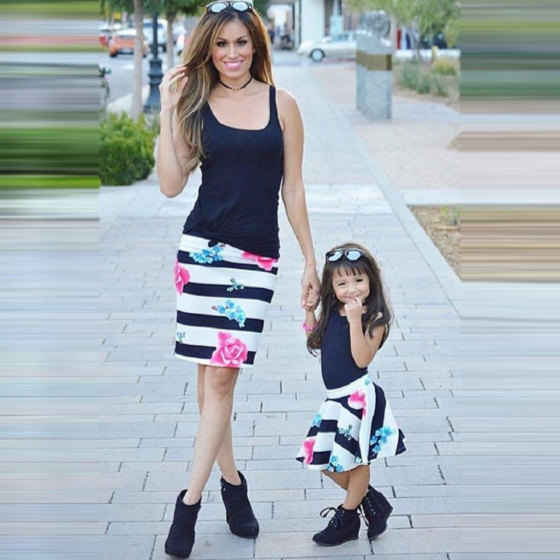 Anboo Mommy and Me Matching Outfit Vest Tops+Floral Skirt Clothes Set