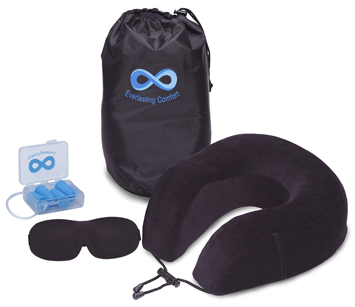 Everlasting Comfort 100% Pure Memory Foam Neck Pillow Airplane Travel Kit With Ultra Plush Velour Cover, Sleep Mask and Earplugs by Everlasting Comfort