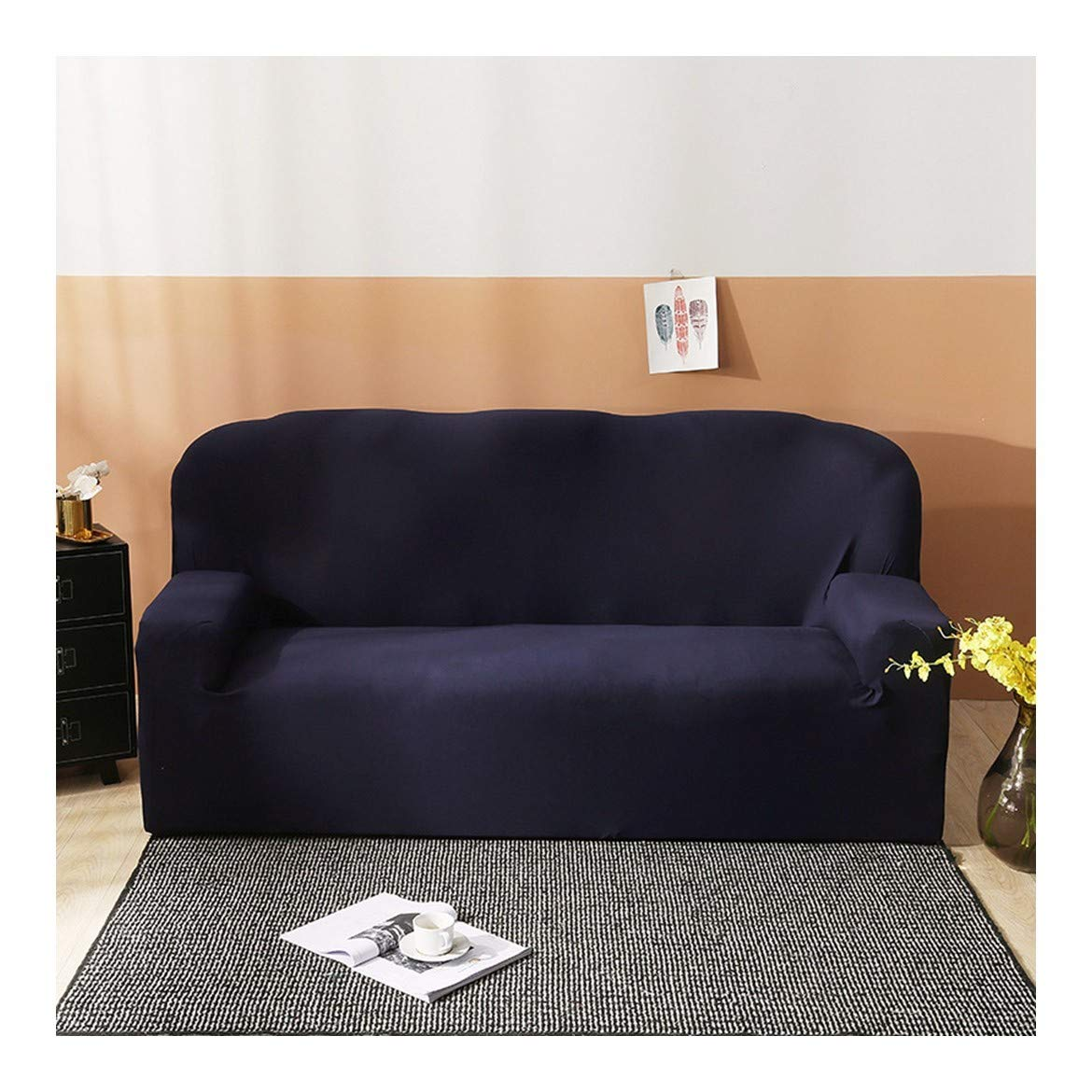 2seat VGUYFUYH Dark bluee Four Seasons Universal Sofa Cover Polyester Full Package Elasticity Home Universal Sofa Cover Simple Fashion One Piece Durable DustProof Pet Dog Predective Cover,2Seat