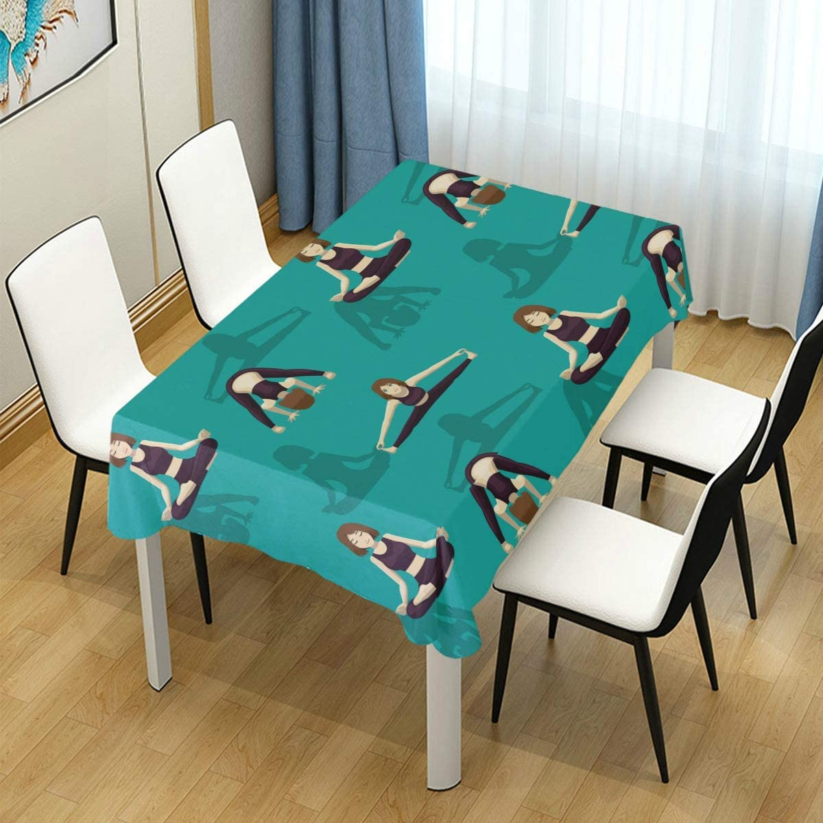 PENGTU Decor Tablecloth Manga Yoga Woman Fire Log Pose Multicolor Rectangular Table Cover for Dining Room Kitchen Outdoor Picnic
