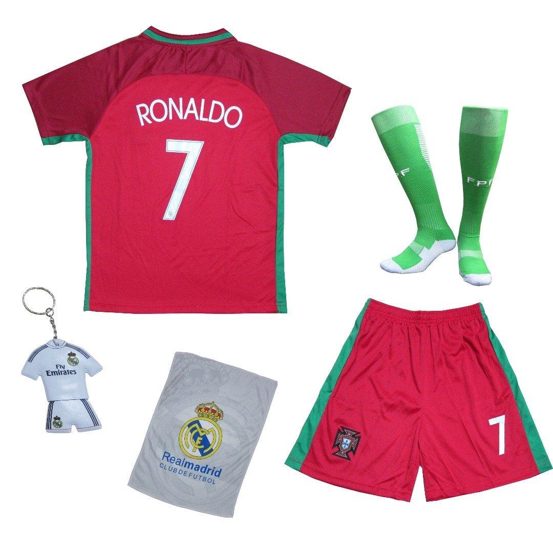 2018年 ポルトガル クリスティアーノ ロナウド #7 ホーム 赤 キッズ用 サッカーフットボール ジャージー ギフトセット ユースサイズ B06WVDMRJG 9-10 YEARS|レッド レッド 9-10 YEARS