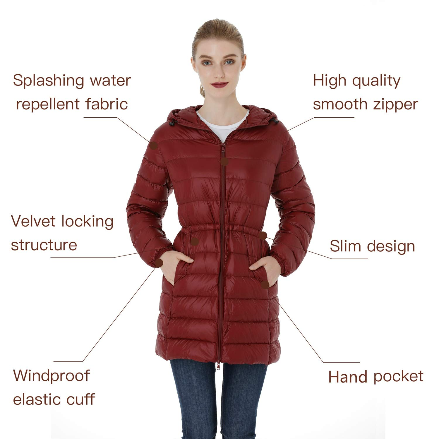 Wantdo Womens Hooded Packable Ultra Light Weight Down Coat