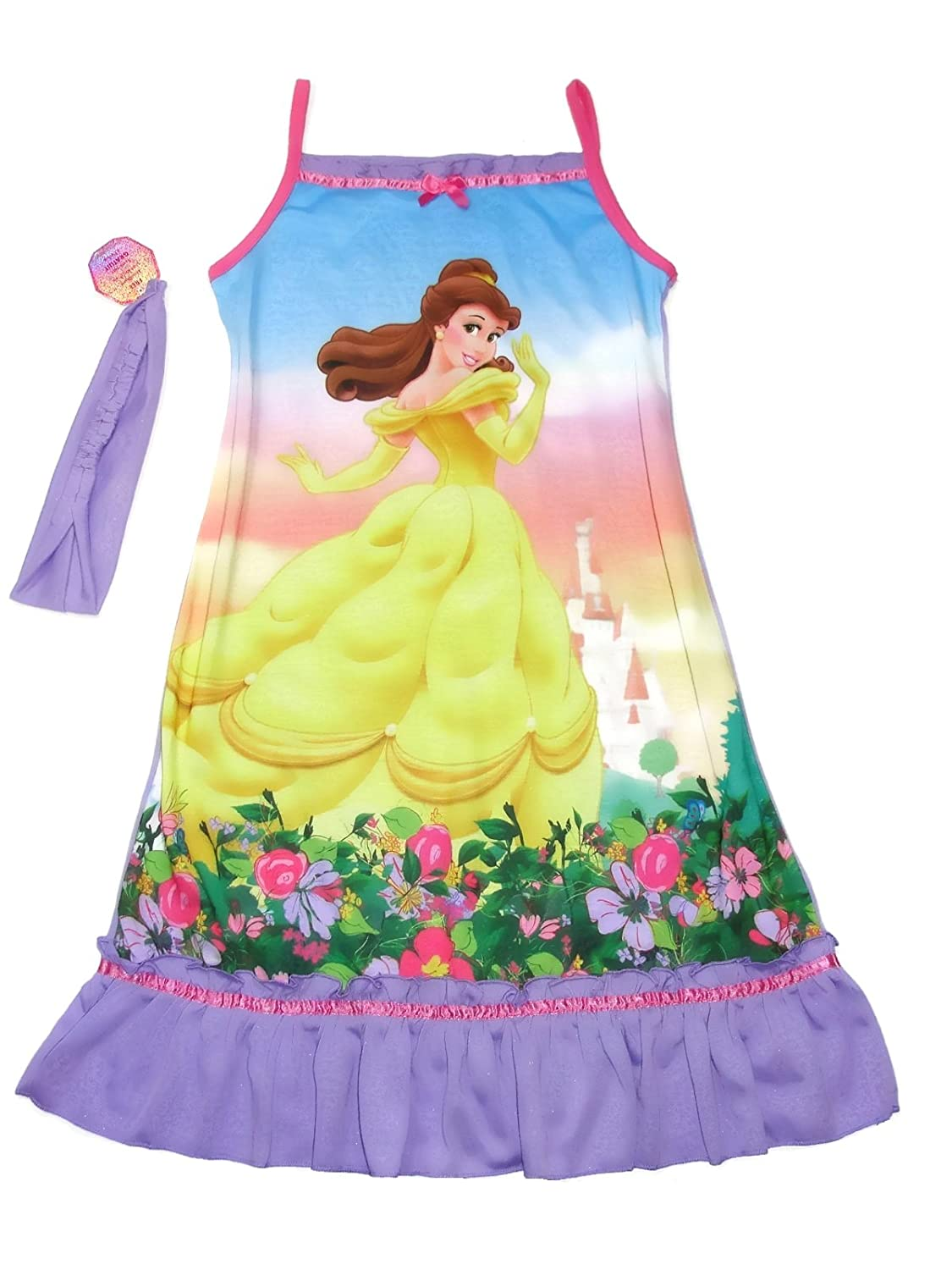 Gown with Headband Disney Girls Size 7//8 Belle Purple Floral Nightgown