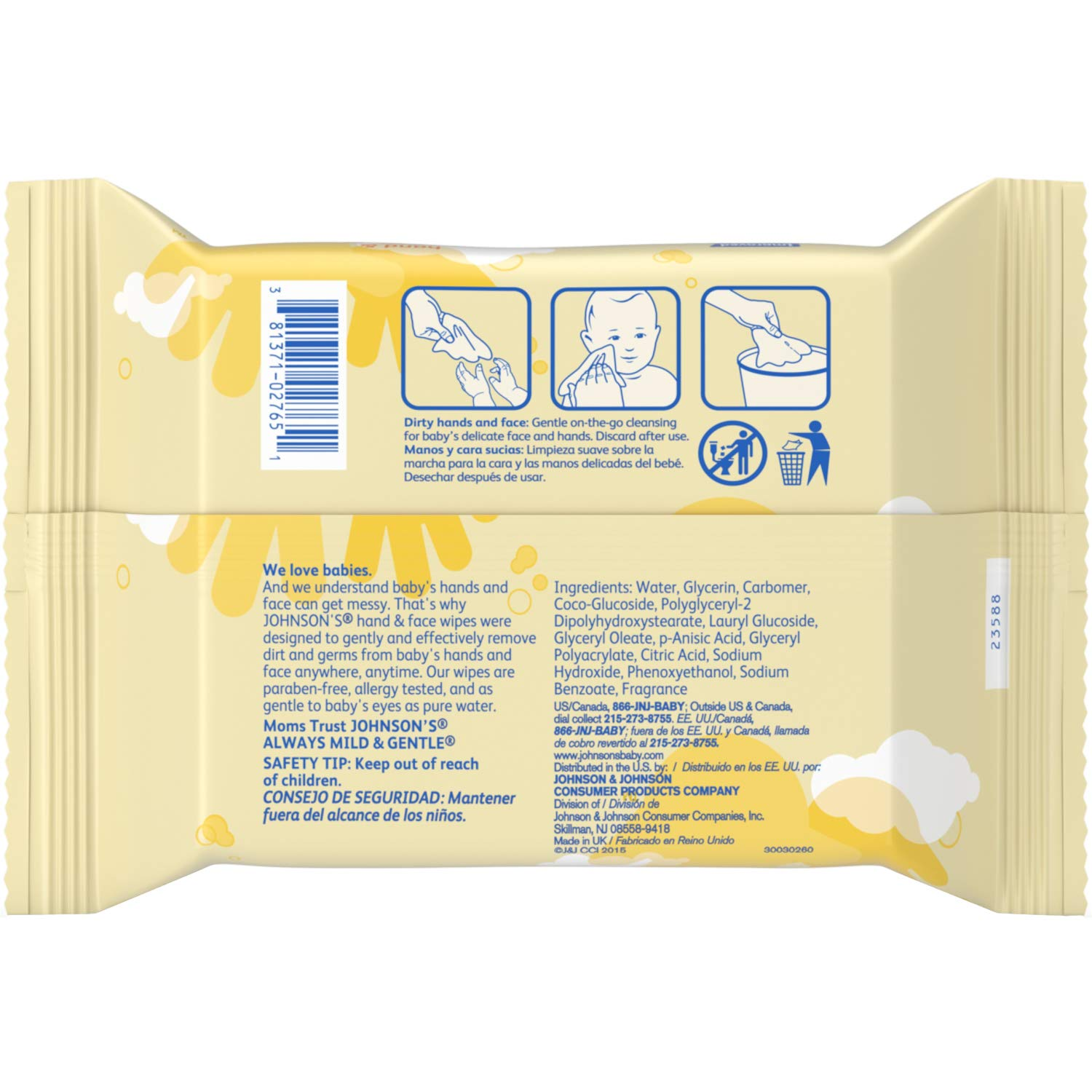 Pack of 3 25-Count Johnsons Baby Hand and Face Wipes