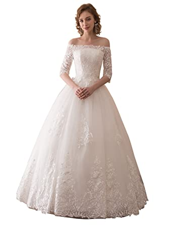 95aef616e6b3 Erosebridal Boat Neck Off Shoulder Wedding Dress With Sleeves Princess Ball  Gown Bridal Gowns at Amazon Women's Clothing store: