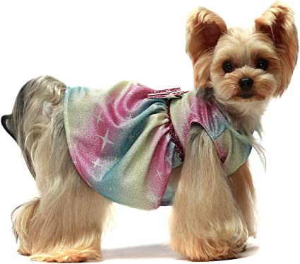 Fitwarm Bling Bling Dog Dress Birthday Party Costumes Dog Clothes Rainbow Pet Cat Apparel