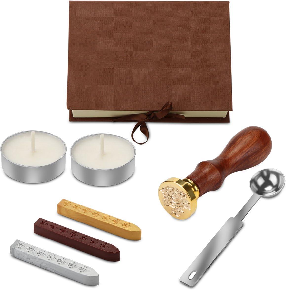 OurLeeme sello de la cera Retro Rose sello Kit de barra de cera cuchara de la caja de regalo Set