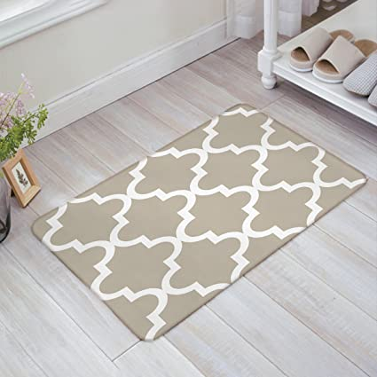 Amazon.com : Indoor Doormat Stylish Welcome Mat Tan Quatrefoil ...