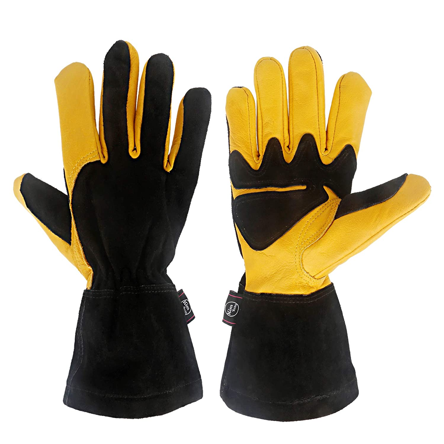 KIM YUAN Leather Gardening Gloves, Anti-Scalding, Heat-Insulating, Comfortable Work Mitts for Oven, Electric Welding, Black-Yellow 14 inches