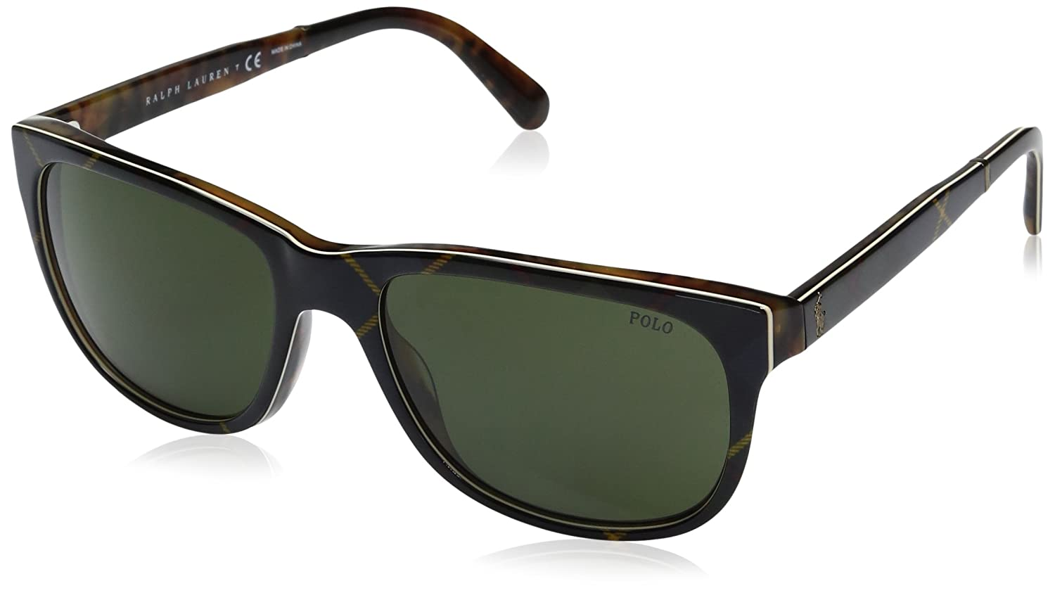 8208a7c79417 Amazon.com: Polo Ralph Lauren Men's Acetate Man Wayfarer Sunglasses, Dress  Gordon Tartan, 58 mm: Clothing