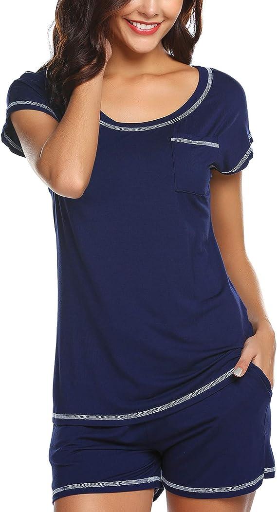 Details about  /Mens Short Sleeve Soft Sleepwear Set T Shirts Shorts Pajamas Set Loungewear Suit