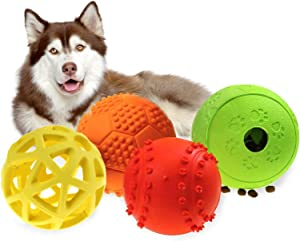 Newthinking Large Dog Squeaky Toy Balls, 4 Pack Interactive Dog Toys Ball, Dog Puzzle and Food Treat-Dispensing for Medium Large Dogs