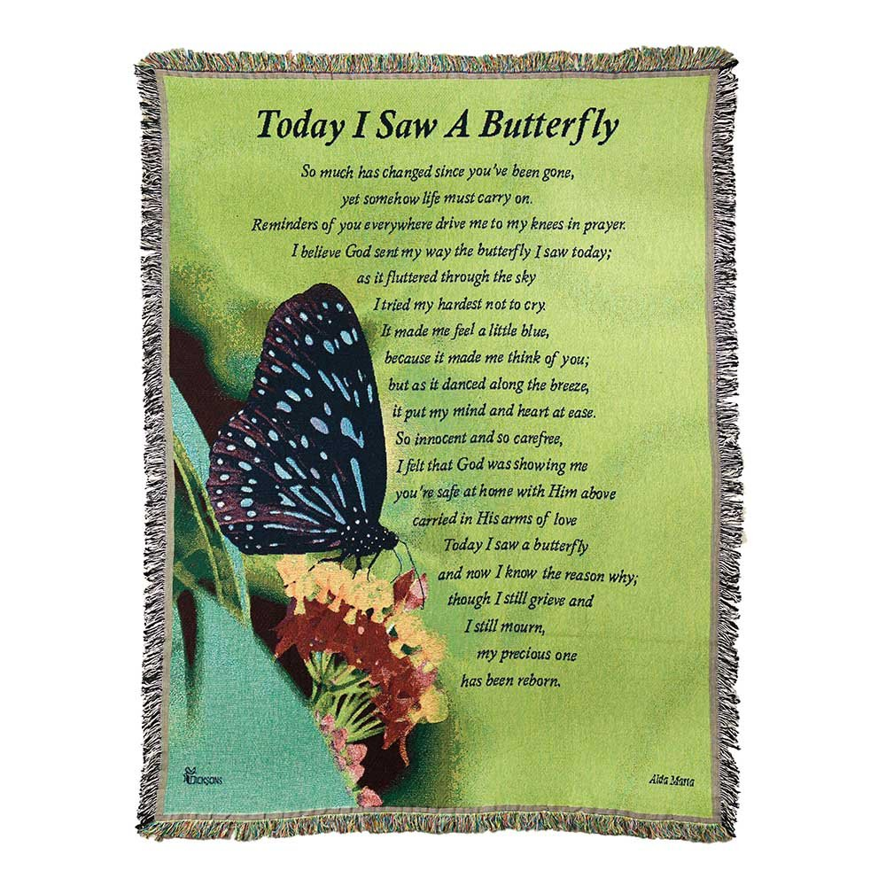 Dicksons Today I Saw A Butterfly Green 68 x 52 Inch Tapestry Throw Blanket by Dicksons