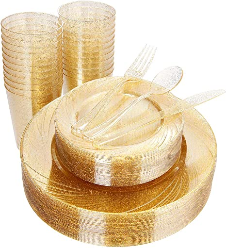 36 Dessert Plates 7.5 Disposable Dinnerware Set Includes: 36 Dinner Plates 10.25 36 Knives 36 Spoons 180pcs Gold Plastic Plates with Gold Glitter Silverware 36 Forks