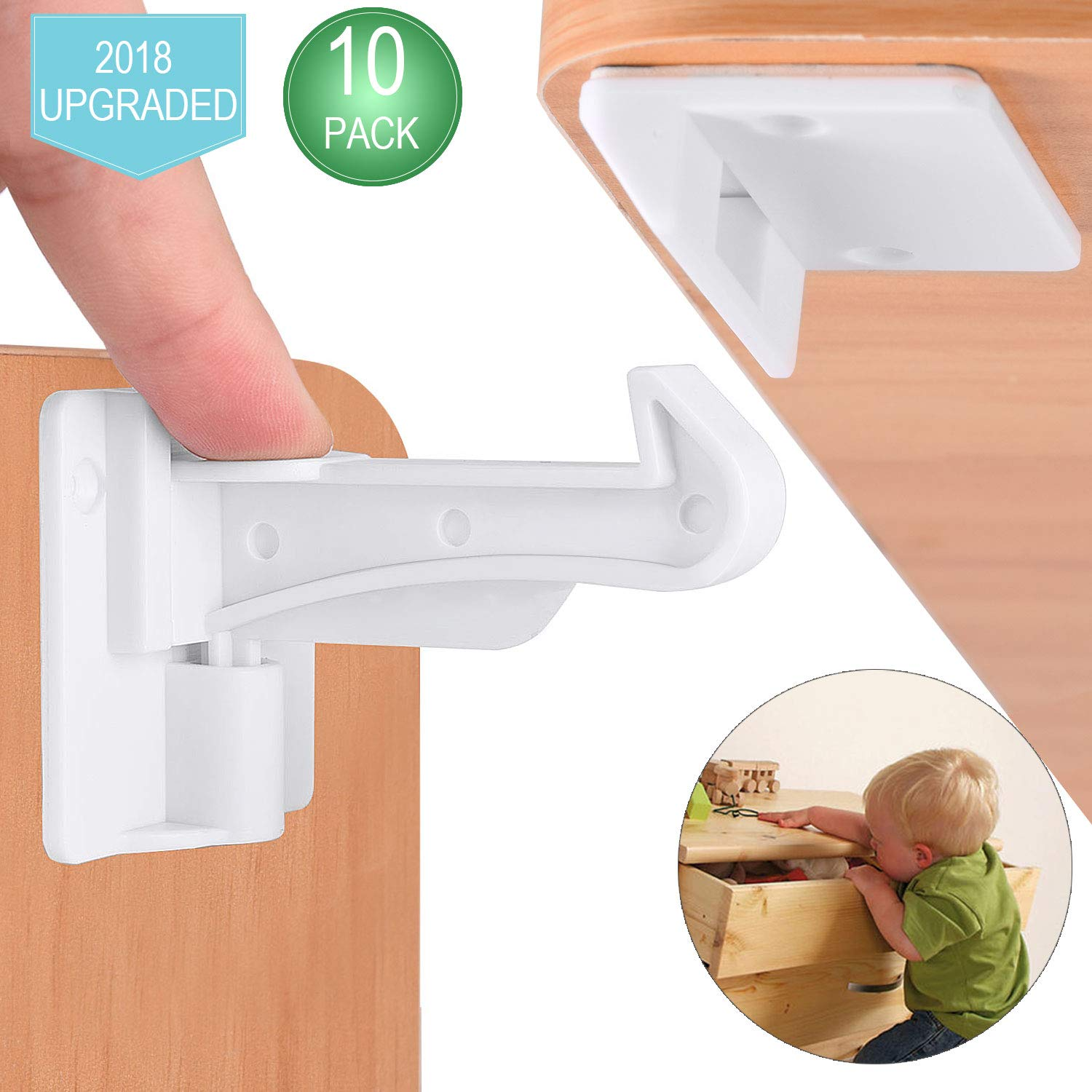 Cabinet Locks Child Safety, Slick Invisible Spring No Drill Baby Proof Safety Latches for Kitchen & Bedroom Cabinets & Cupboards Drawers with & 3M Adhesive & 20 Screws Durable Fixed - 10 Pack Gleaming star