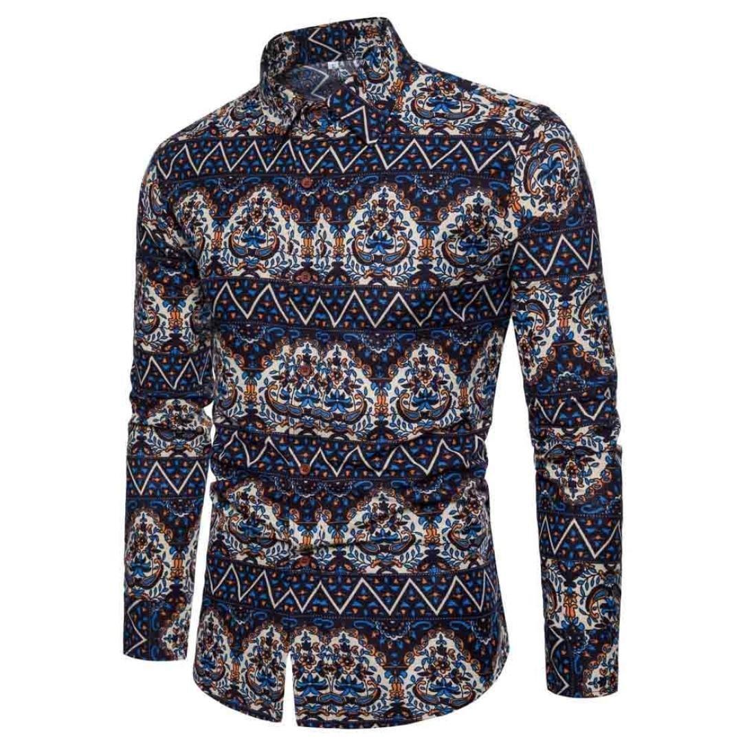 GREFER Men's Spring Autumn Winter Casual Long Sleeve T-Shirt Business Slim Print Blouse Top (3XL, Navy)